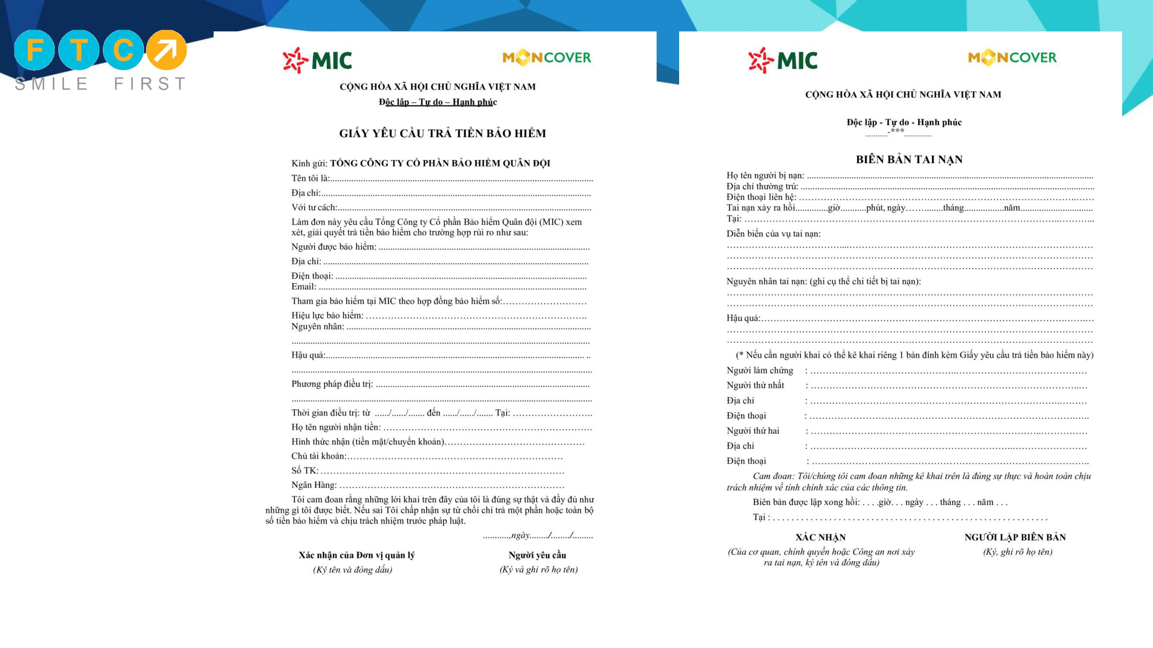Hướng dẫn hồ sơ bồi thường M_care